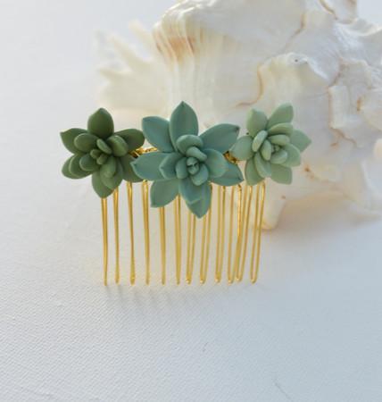 Trio Succulent Hair Comb
