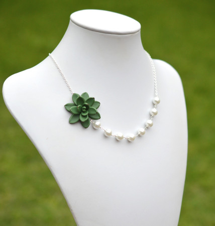 Green succulent Asymmetrical Necklace.Free Pearls Earrings