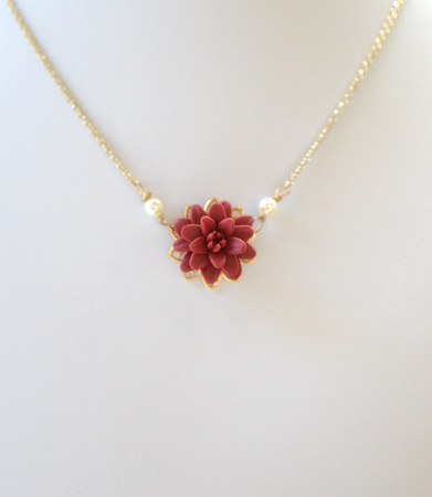 Bradley Delicate Drop Necklace in Red Garnet Dahlia