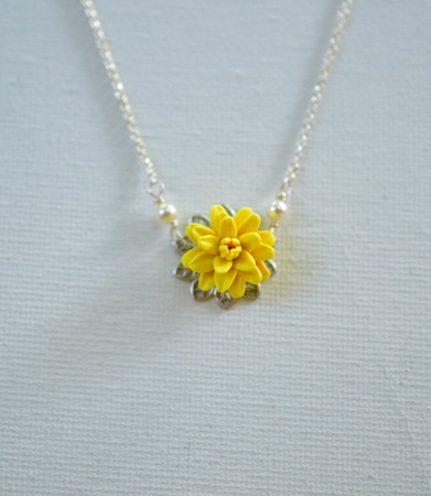 Bradley Delicate Drop Necklace in Sunshine Yellow Dahlia