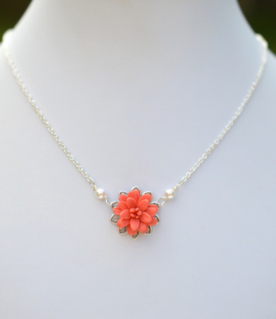Bradley Delicate Drop Necklace in Coral Dahlia.