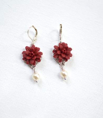 Richelle Statement Earrings in Red Garnet Dahlia With Pearls