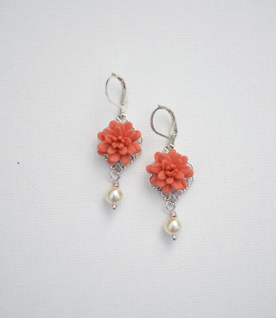 Richelle Statement Earrings in Coral Dahlia With Pearls