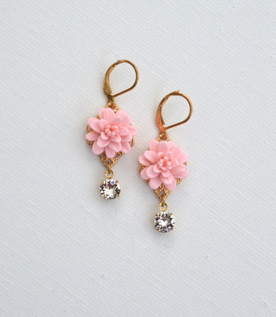 Beatrice Statement Earrings in Blush Pink Dahlia and Swarovski Crystals