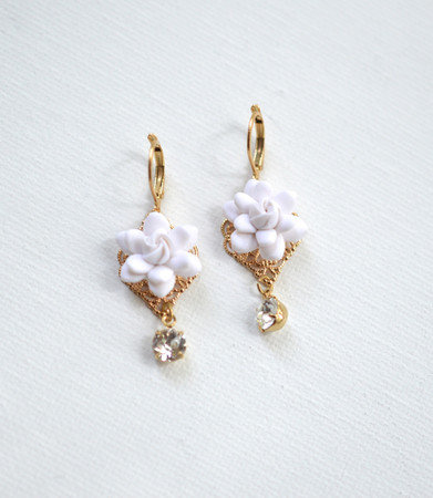 Beatrice Statement Earrings in White Gardenia and Swarovski Crystals