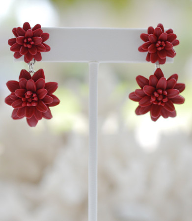 Loren Double Dahlia Earrings in Red Garnet