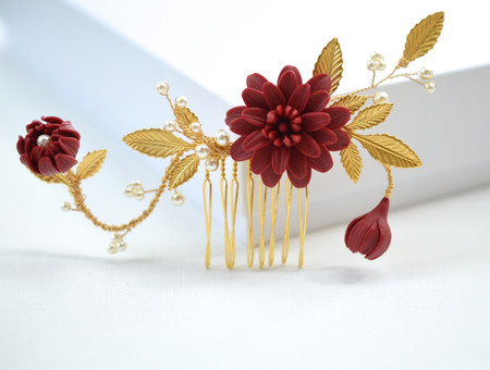 Molly Red Garnet Dahlia Hair Comb