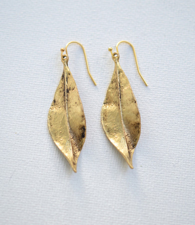Ready To Ship. Large Gold Leaf Earrings
