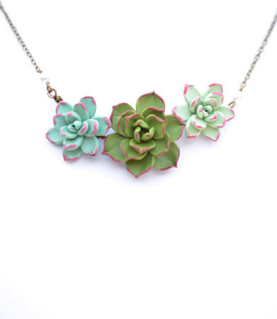 Dusty Mint, Olive Green and Pale Green With Red Tips Trio Succulent Centered Necklace.