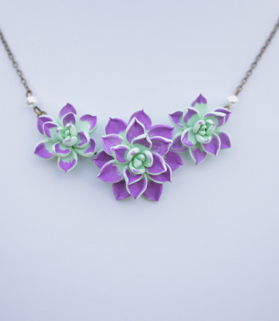 Trio Light Mint Green-Purple Succulent Centered Necklace-2