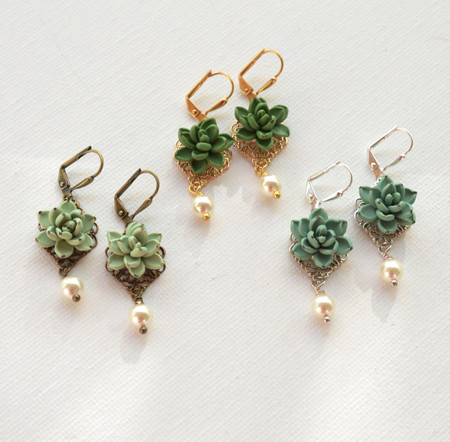 Succulent Statement Earrings .Richelle