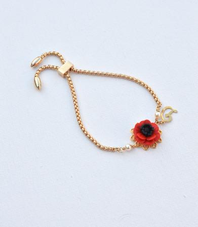 DARLENE  Adjustable Sliding Bracelet in  Red Poppy/Anemone with Initial