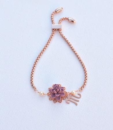 DARLENE Adjustable Sliding Bracelet in Pink Mauve with Initial