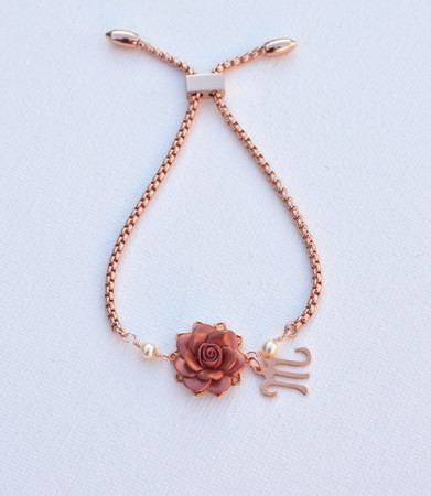 DARLENE Adjustable Sliding Bracelet in Rose Gold  Flower with Initial