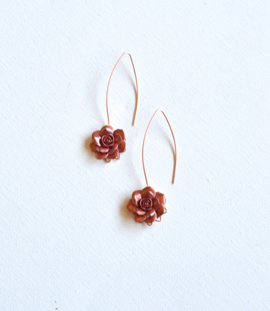 Ryan Marquise Long Drop Earrings in Rose Gold Flower