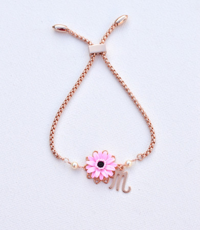 DARLENE Adjustable Sliding Bracelet in Pink  Gerbera Daisy with Initial