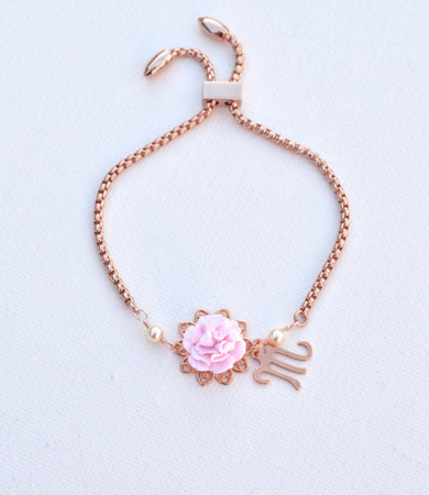 DARLENE  Adjustable Sliding Bracelet in Light Pink Carnation with Initial