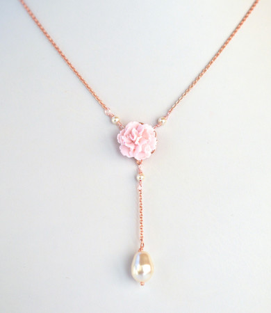 LILA  Y Drop Necklace  in Tiny Light Pink Carnation