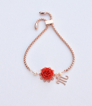 DARLENE Adjustable Sliding Bracelet Red Carnation  with Initial