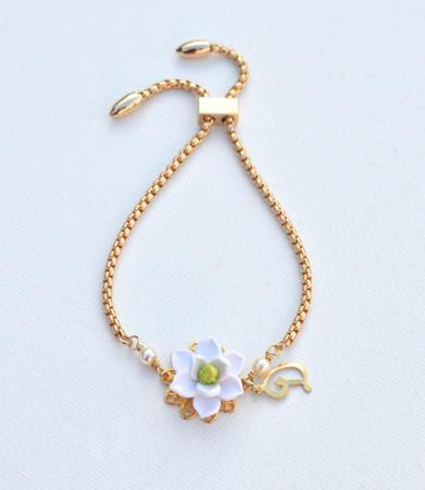 DARLENE Adjustable Sliding Bracelet in White Magnolia with Initial