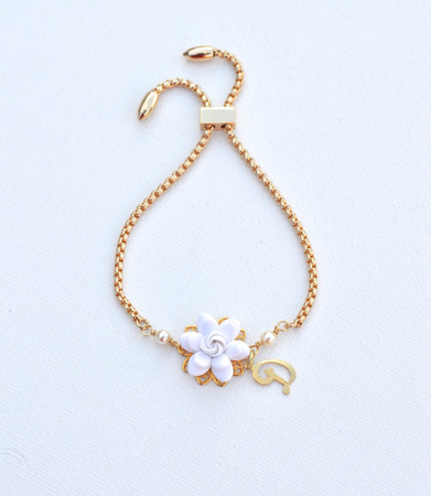 DARLENE Adjustable Sliding Bracelet in White  Gardenia with Initial