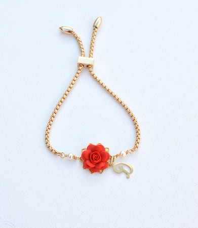 DARLENE Adjustable  Bracelet in Succulent Red Rose