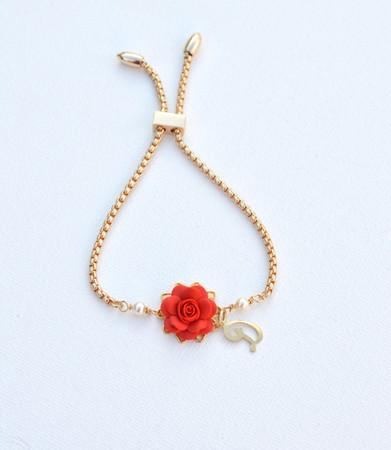 DARLENE Adjustable  Bracelet in Succulent Red Rose