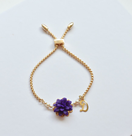 DARLENE Adjustable Sliding Bracelet in Deep Purple Dahlia