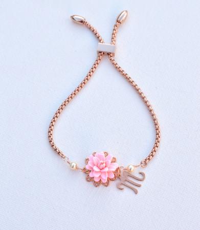 DARLENE Adjustable Sliding Bracelet in Blush Pink Dahlia