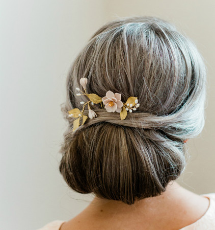 Lena Hair Comb  in Nude/Beige Magnolia and Metal Leaves