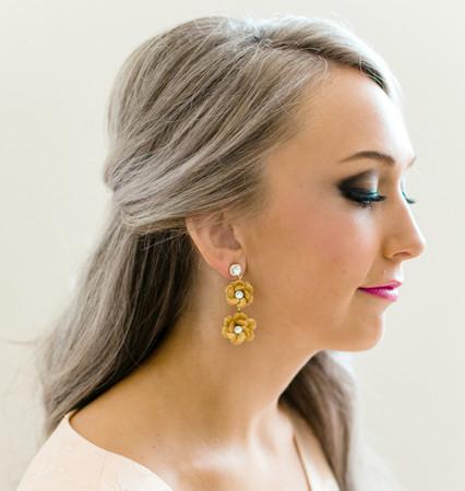Zahra Statement Earrings in Gold Sakura Blossom/ Cherry Blossom