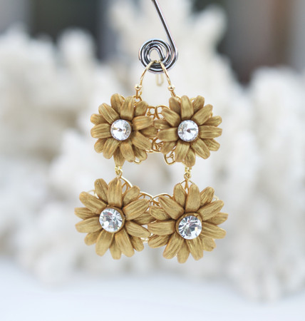 Zahira Statement Earrings in Gold Sunflower