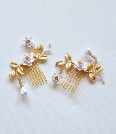 DINAH Hair Comb in White Magnolia Set of 2