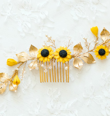 DARLIN Hair Vine in Golden Yellow Sunflower