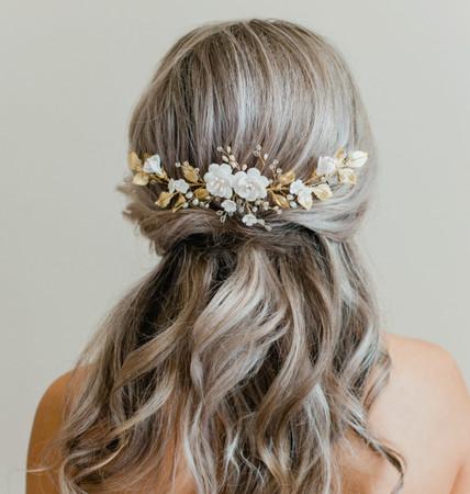 ELAINE Hair Vine  in White Cherry Blossom