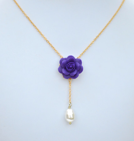 LUNA Y Drop Necklace  in Deep Purple Rose
