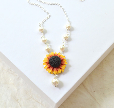Lexie Centered Necklace in Red Yellow Sunflower