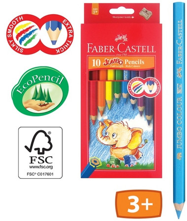 Coloured Pencils Faber Castell Jumbo + Pencil Sharpener 1116010 ...