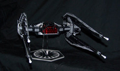 acrylic display stand for Lego Kylo Ren Tie Silencer from Star Wars the Last Jedi.