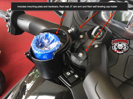 Can-Am Spyder Ram mount for RT with Self-Leveling Cup Holder (LG-1086-132BU) by Lamonster