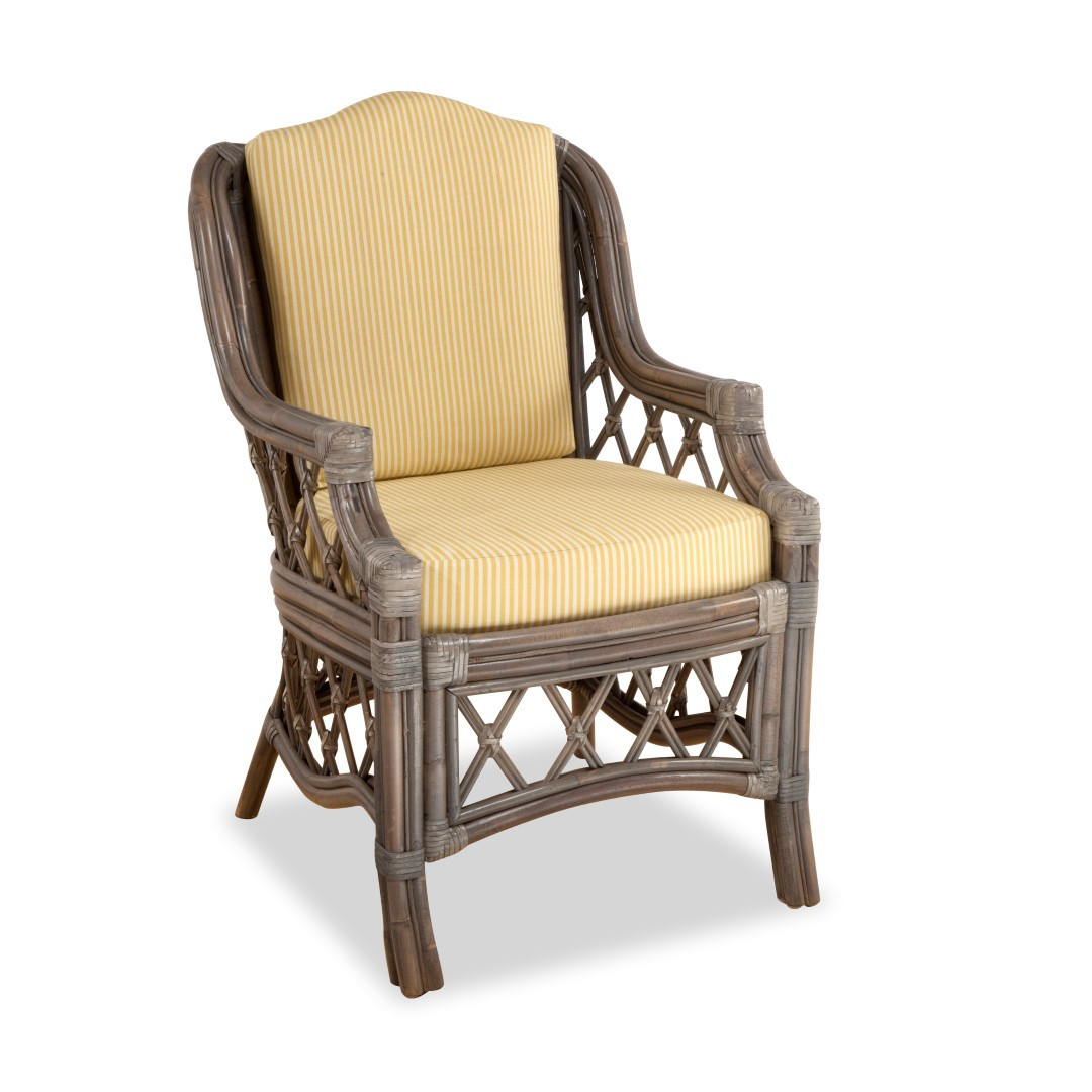 South sea rattan nadine indoor dining arm chair modern for Modern wicker dining chairs