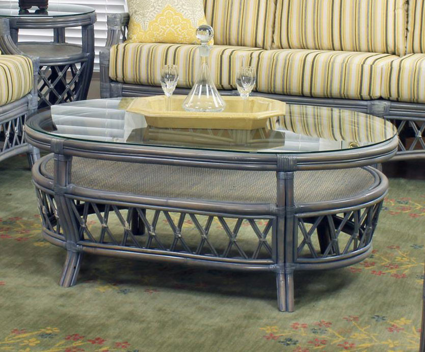 South Sea Rattan Nadine Indoor Coffee Table Modern Wicker Llc