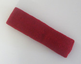 Dark red terry sport headband for sweat