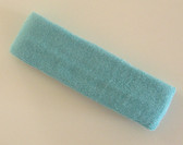 Light sky blue terry sport headband for sweat