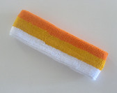 Orange golden yellow white stripe terry sport headband