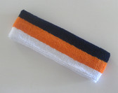 Navy orange white stripe terry sport headband for sweat