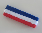 Blue white red stripe terry sport headband for sweat
