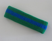 Green blue green stripe terry sport headband for sweat