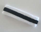 White black white stripe terry tennis headband for sweat