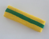 Yellow green yellow stripe terry sport headband for sweat